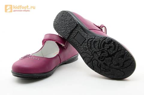 Туфли Тотто из натуральной кожи на липучке для девочек, цвет Лиловый,  10204C. Изображение 9 из 16.