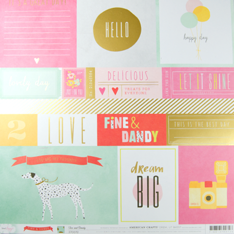 Лист с журнальными карточками 30х30 см. Fine&Dandy Dear Lizzy