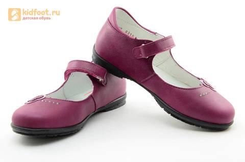 Туфли Тотто из натуральной кожи на липучке для девочек, цвет Лиловый,  10204C. Изображение 10 из 16.