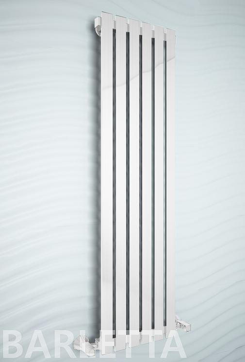 Barletta E - электрический дизайн полотенцесушитель  с прямоугольными вертикалями белого цвета.