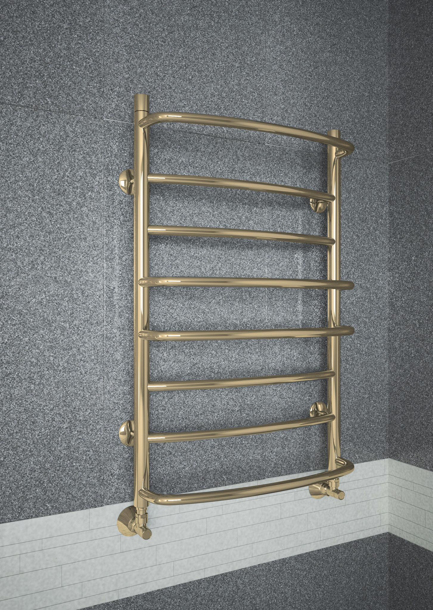 Euromix Bronze - бронзовый полотенцксушитель c c чередующимися прямыми и выпуклыми перекладинами. Бронза.