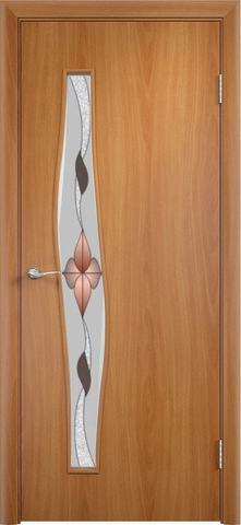 Дверь Верда Волна стекло Сара, художественное стекло Сара, цвет миланский орех, остекленная