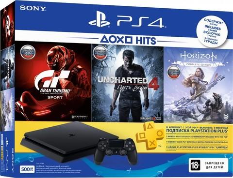 Sony PlayStation 4 Black Slim 500Гб + PS+ 3 месяца, Uncharted 4: Путь Вора, Horizon: Zero Dawn, Gran Turismo Sport