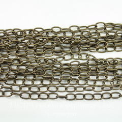 Винтажная цепь текстурная (звено 8х5 мм) (оксид латуни), 10 см