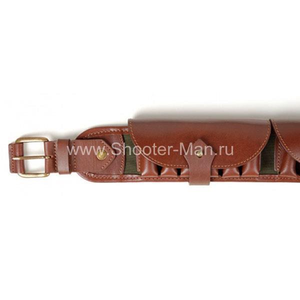 Кожаный патронташ охотничий для 12-16-20 калибра универсальный на 25 патронов Стич Профи артикул 1610 фото