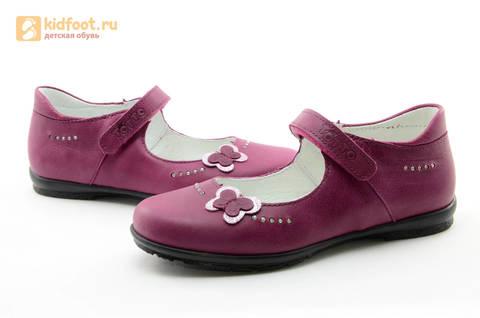 Туфли Тотто из натуральной кожи на липучке для девочек, цвет Лиловый,  10204C. Изображение 11 из 16.