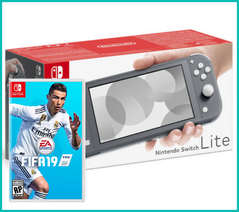 NS: Nintendo Switch Lite (серый) + FIFA 19
