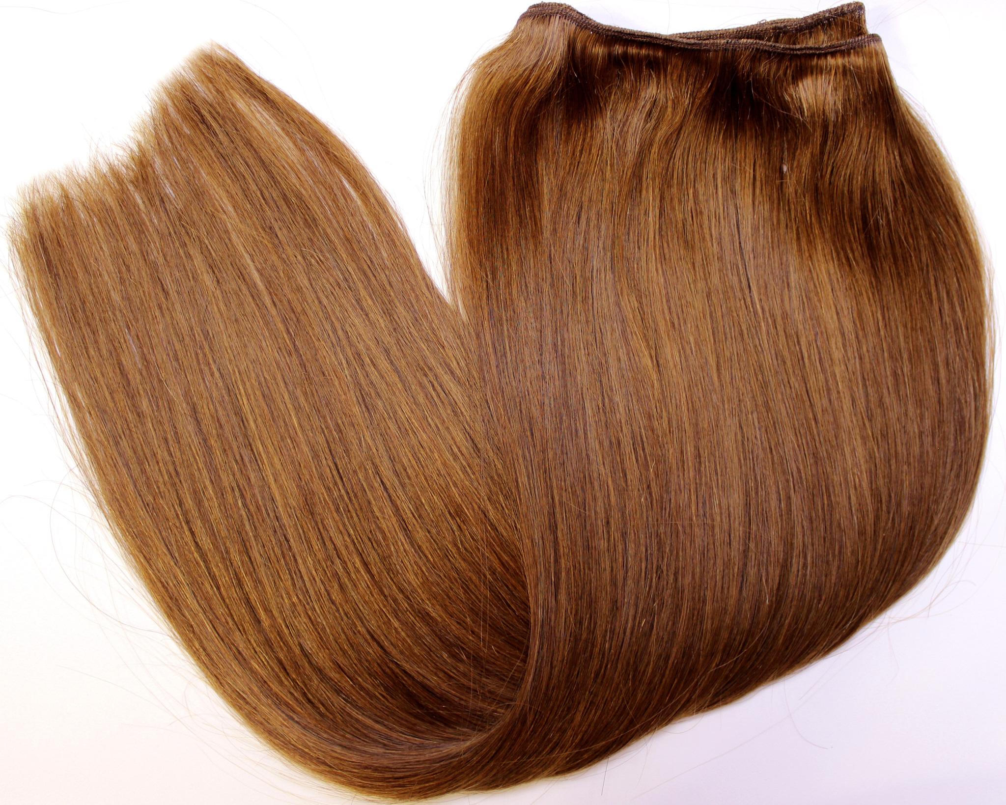 Тресс из натуральных волос длина 60 см,цвет #6-темно-русый