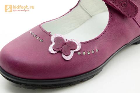 Туфли Тотто из натуральной кожи на липучке для девочек, цвет Лиловый,  10204C. Изображение 13 из 16.
