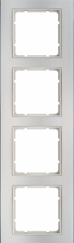 Рамка на 4 поста алюминий. Цвет Полярная белизна. Berker (Беркер). B.3. 10143904