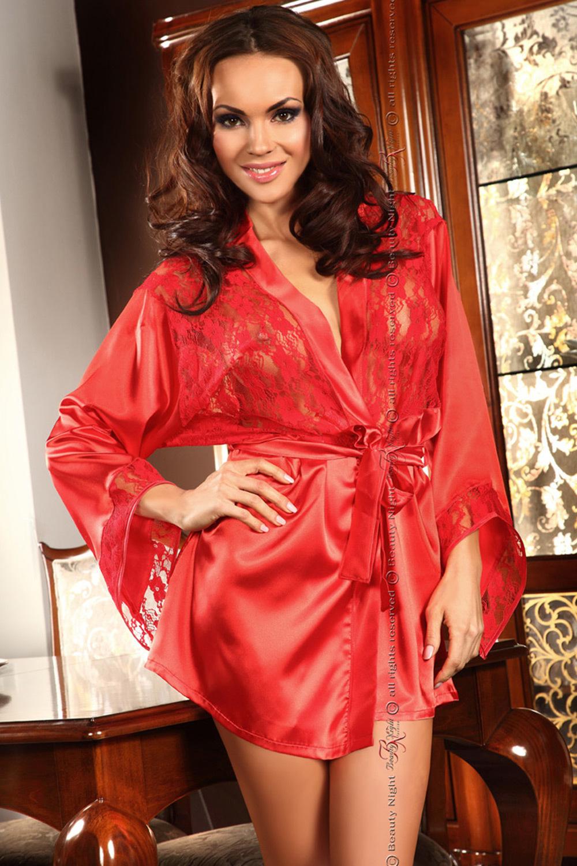 Красный пеньюар с кружевом (Короткие халаты)