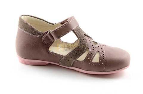 Туфли Тотто из натуральной кожи на липучке для девочек, цвет ирис серобежевый, 10207A. Изображение 2 из 12.