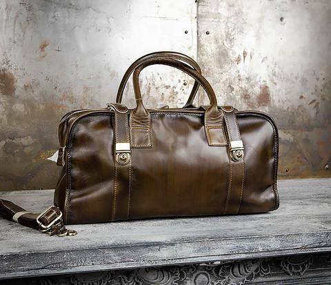 Мужская дорожная сумка саквояж из натуральной кожи