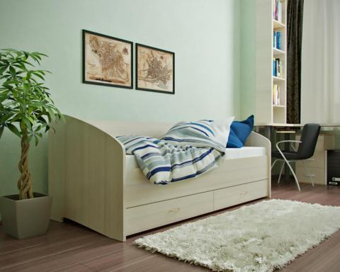 Кровать односпальная с ящиками и спинкой ЛДСП