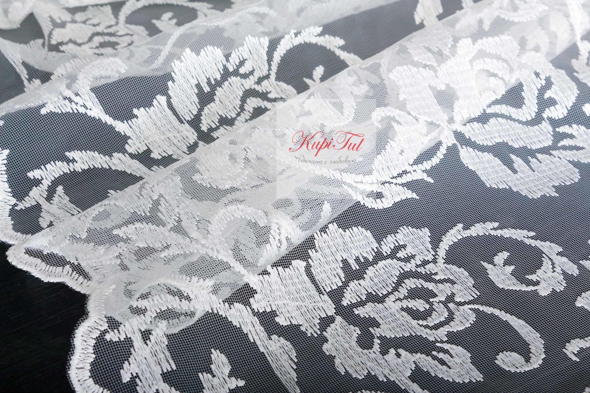 Микросетка с матовой вышивкой Мери-2 (белая)