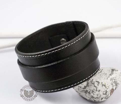 BL238 Широкий мужской браслет напульсник из черной натуральной кожи