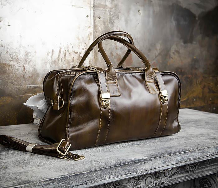 BAG459-3 Мужская дорожная сумка из натуральной кожи фото 03