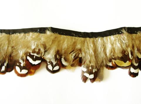 Тесьма  из перьев  фазана  около 4-7 см. Вид 3