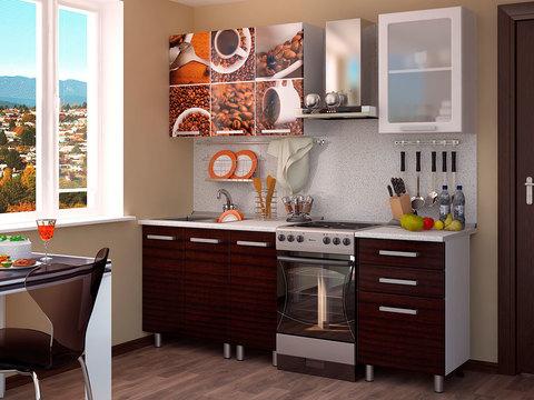 Кухня 1,6м Кофе БТС Белый/фотопечать