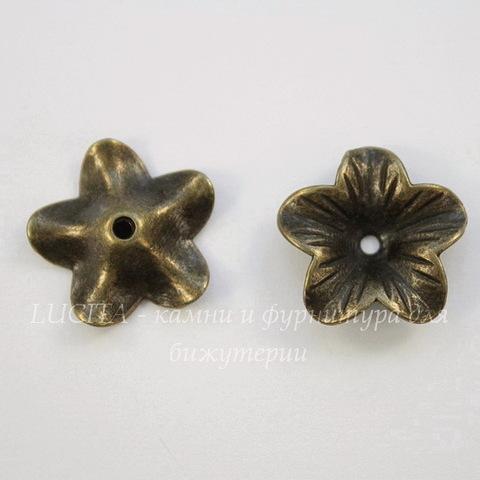 """Шапочка """"Цветок"""" (цвет - античная бронза) 18х17х4,5 мм"""