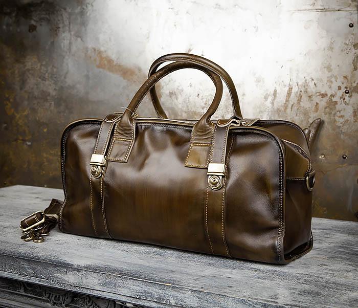 BAG459-3 Мужская дорожная сумка из натуральной кожи фото 04