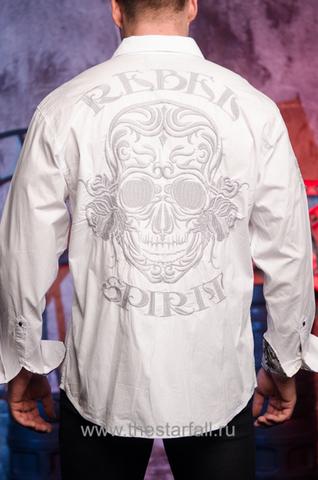 Белая мужская рубашка Rebel Spirit с черепом