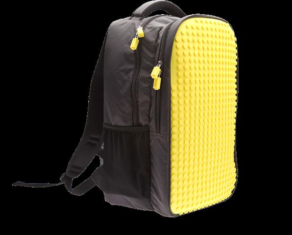 Школьный пиксельный рюкзак Full Screen желтый вид сбоку