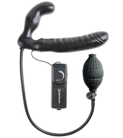 Безревневой страпон с ручным насосом и вибрацией Inflatable Vibrating Strapless Strap-On