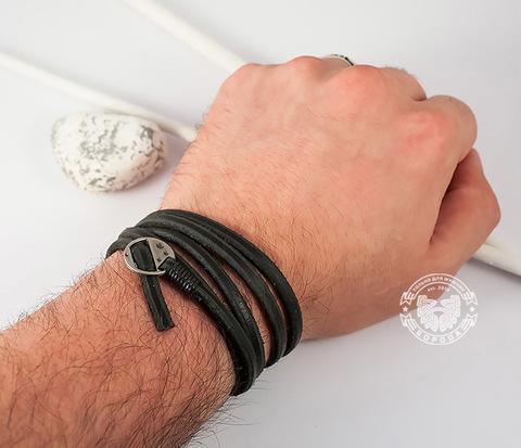 BL263-1 Оригинальный мужской браслет -лента из натуральной кожи, черный