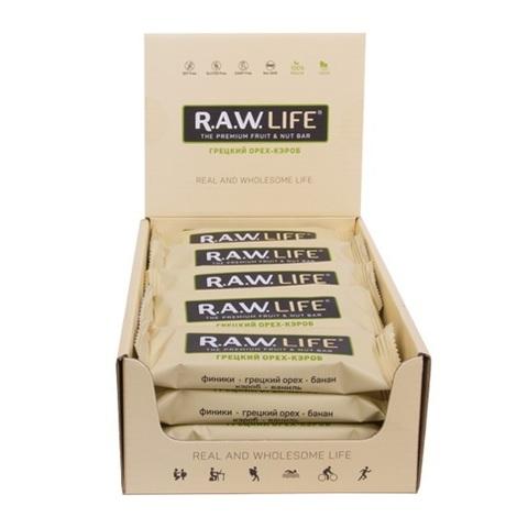 Батончик натуральный R.A.W. LIFE Грецкий орех-Кэроб коробка 20 шт.