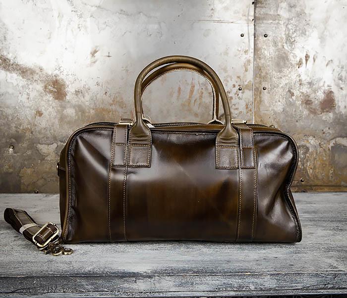 BAG459-3 Мужская дорожная сумка из натуральной кожи фото 09