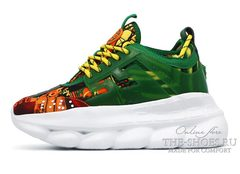 Кроссовки Versace Chain Reaction 2 Chainz Green Yellow