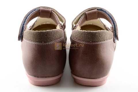 Туфли Тотто из натуральной кожи на липучке для девочек, цвет ирис серобежевый, 10207A. Изображение 7 из 12.