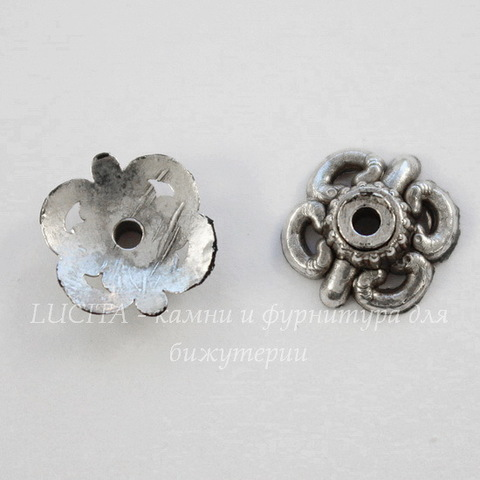 Шапочка для бусины (цвет - античное серебро темное) 9х3 мм, 10 штук