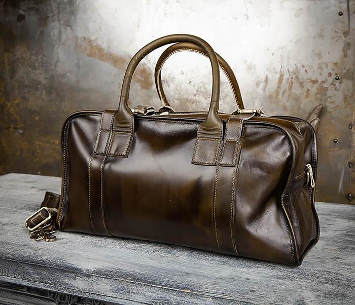 BAG459-3 Мужская дорожная сумка из натуральной кожи фото 10