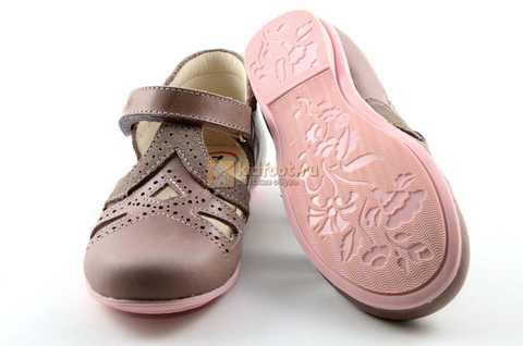 Туфли Тотто из натуральной кожи на липучке для девочек, цвет ирис серобежевый, 10207A. Изображение 8 из 12.