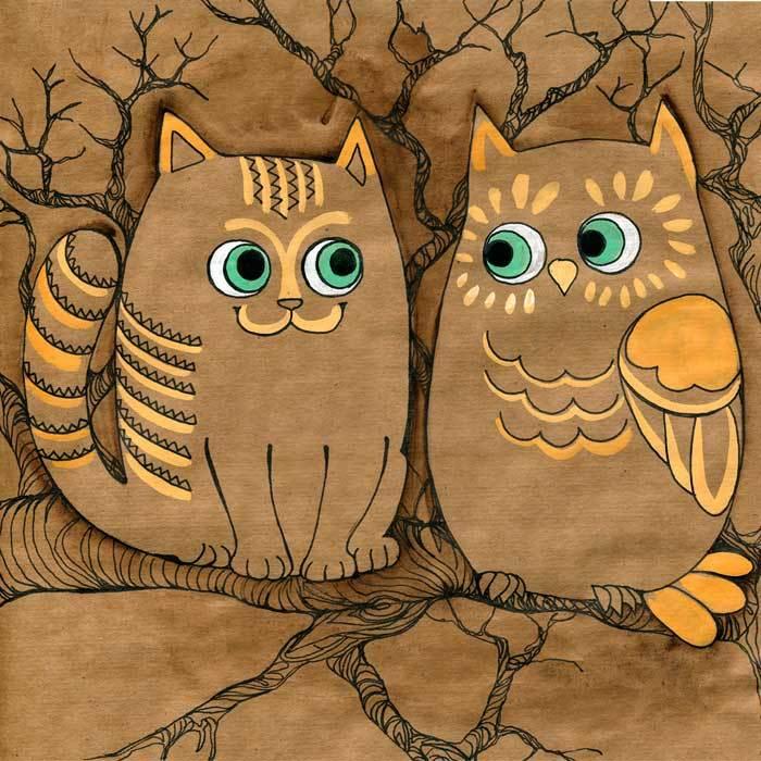 личный картинки совы и котенка воздушной