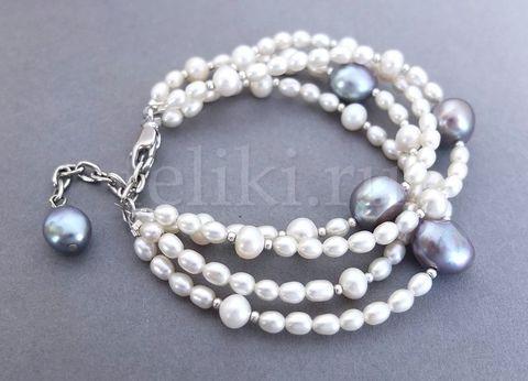 белый браслет_браслет из жемчуга многорядный_фото