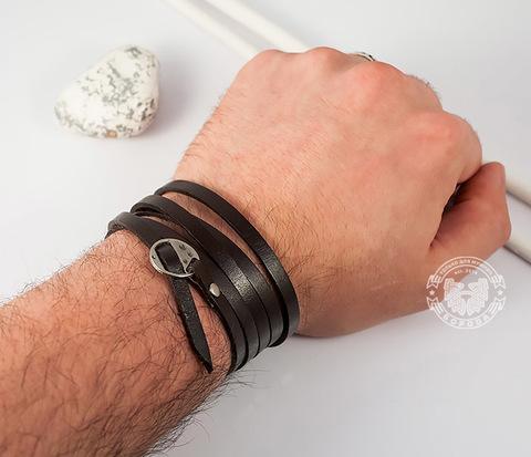 BL263-2 Оригинальный мужской браслет -лента из натуральной кожи, кофейный