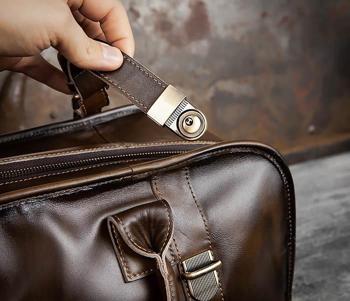 BAG459-3 Мужская дорожная сумка из натуральной кожи фото 12
