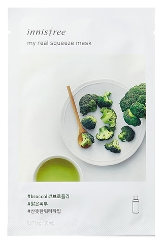 Innisfree Листовая маска для лица с экстрактом брокколи My Real Squeeze Mask Broccoli