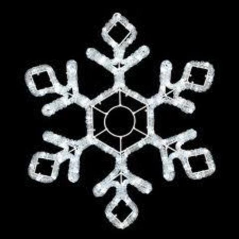Снежинка светодиодная d-60 см. Белая мерцающая