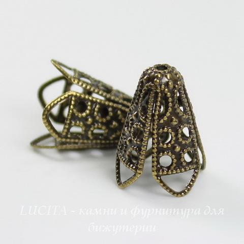 Винтажный декоративный элемент - шапочка - конус 16х13 мм (оксид латуни) ()