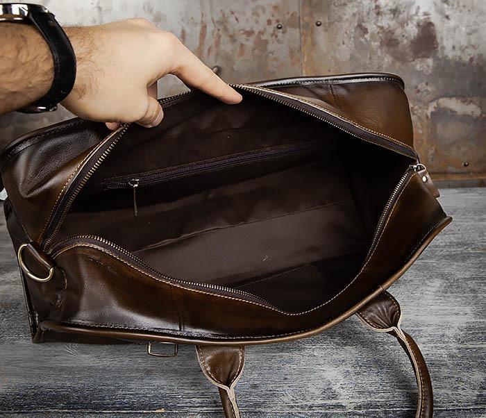 BAG459-3 Мужская дорожная сумка из натуральной кожи фото 13