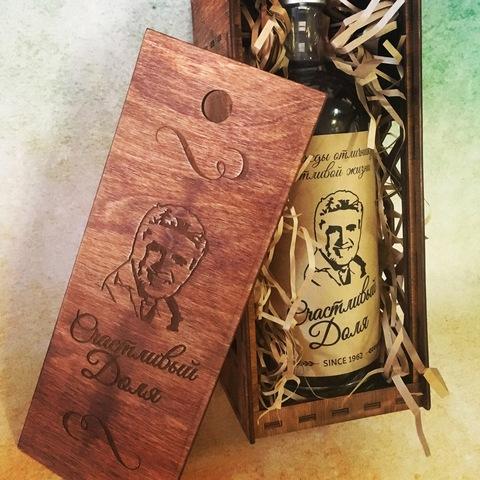 Коробка для вина с этикеткой на бутылку