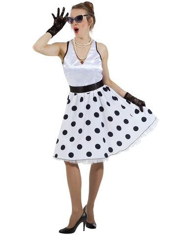 Платье Стиляга белая в горох 1