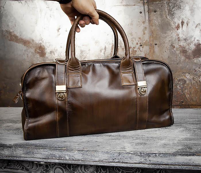 BAG459-3 Мужская дорожная сумка из натуральной кожи фото 16