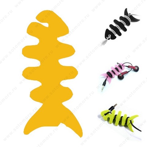 Скрутка намотка для кабеля или наушников резиновая рыбка оранжевый