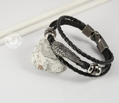 BL264-1 Мужской кожаный браслет с крылом на металлической застежке