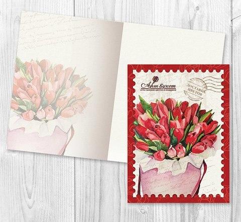 """Открытка """"Тюльпаны в шляпной коробке"""" В ПОДАРОК к заказу"""